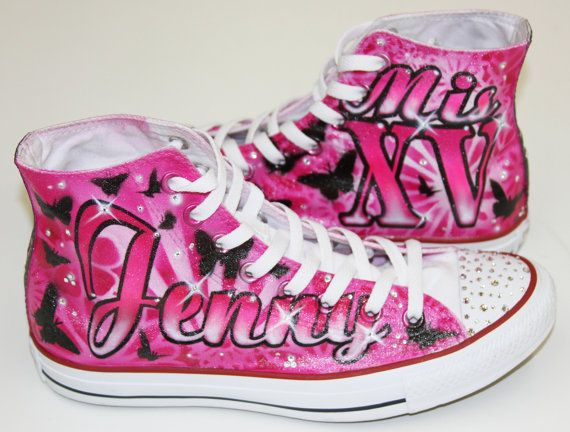 Items similar to Quinceañera shoes, custom airbrush shoes by Herby. We  match dress colors.