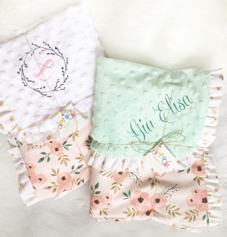 Pink Peony - woodland floral baby girl blanket - cotton and minky with ruffle - baby girl nursery pink mint turquoise embroidered personalized handmade by Dot Dot Baby- www.dotdotbaby.com