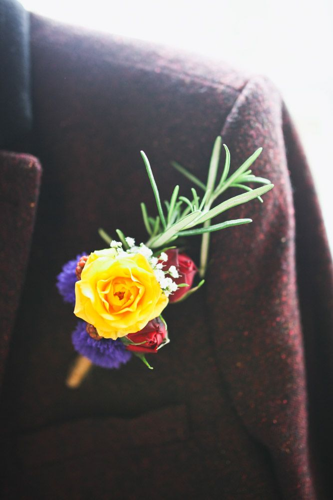 "Eye catching, yellow rose buttonhole. The Urban Flower Company. For more Alternative Wedding inspiration, check out the No Ordinary Wedding article ""20 Quirky Alternatives to the Traditional Wedding""  http://www.noordinarywedding.com/inspiration/20-quirky-alternatives-traditional-wedding-part-2"
