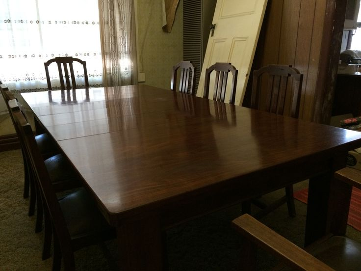 Art Deco Oak Table  with 2 Carver chairs and 6 Dining Chairs plus Buffet