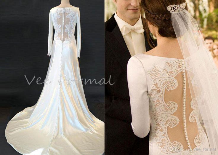 Twilight Saga Breaking Dawn, Bella's Wedding Dress, Modest Long Sleeves Satin A-line Sheer Back Bridal Gown