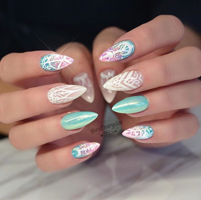 Tiffany Blue and White Stiletto Nails