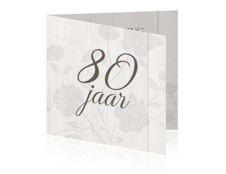 Uitnodiging vrouw verjaardagsfeest 80e jaar op hout