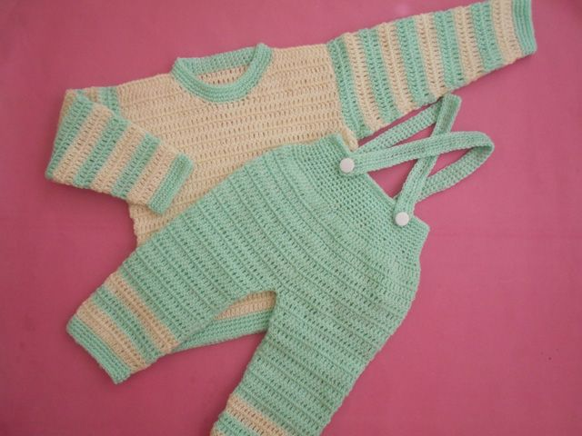 Crochet - Crosia Free Patttern with Video Tutorials: Boys sweater, pant / Suspenders