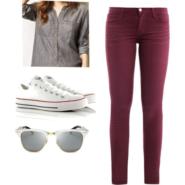 gray chambray// plum jeans
