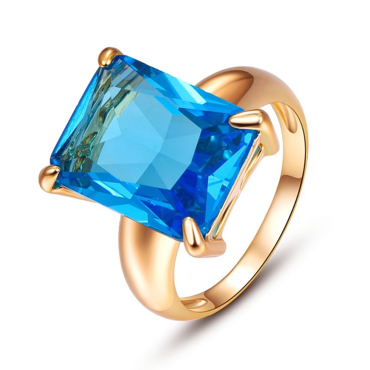 NEWSKY 6 Color Big Gem Rings For Women Gold Plated Fashion Luxury Cubic Zirconia Rings For Women Engagement Ring  Jewelry