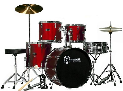 SR Series Wine Red Drum Set for Sale with Cymbals Hardware and Stool New Gammon 5-Piece Kit Full Size