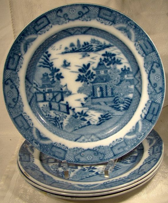 Set of 4 Georgian Blue Willow Variant Plates 1800 1820 BADA