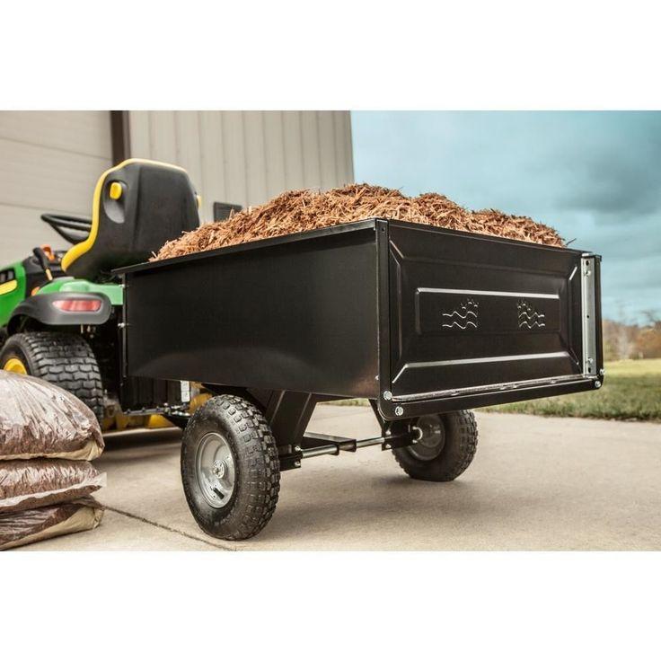 Dump Cart Tractor Trailer Attachment Garden Yard Lawn