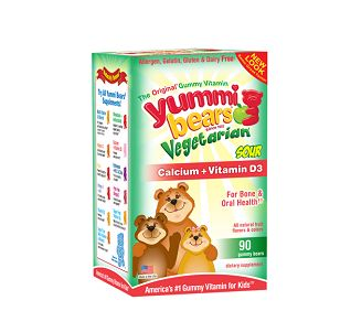 Hero Nutritionals Yummi Bears Vegeterian Calcium w/ Vitamin D: Yummi Bears Calcium + Vitamin D is vegetarian approved and perfectly blended to give children the vitamins and minerals they need to maintain strong bones and healthy teeth and gums.