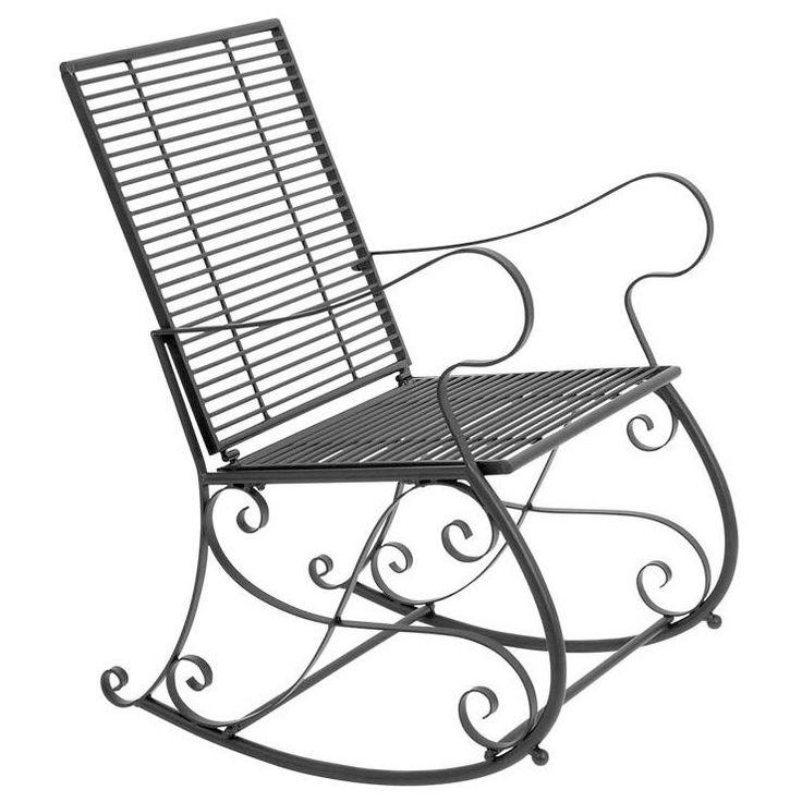 Benzara 37-inch Metal Patio Rocker Chair (Metal Rocker Chair), Beige, Size Single, Patio Furniture (Iron)