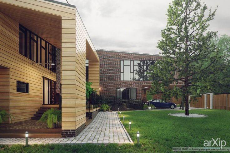 Современный дом: архитектура, зd визуализация, 2 эт | 6м, жилье, модернизм, 300 - 500 м2, фасад - кирпич, фасад - дерево, коттедж, особняк, архитектура #architecture #3dvisualization #2fl_6m #housing #modernism #300_500m2 #facade_brick #facade_wood #cottage #mansion #architecture arXip.com