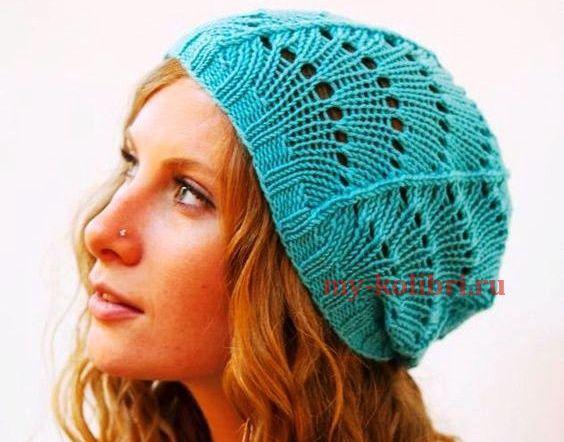 Ажурная шапочка спицами на осень