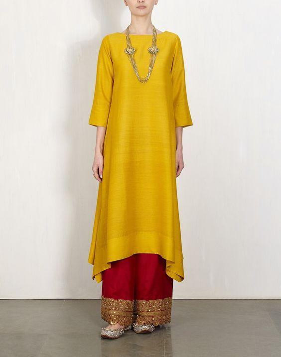 Yellow Kurta With  Embroidered Pants-Lajjoo: