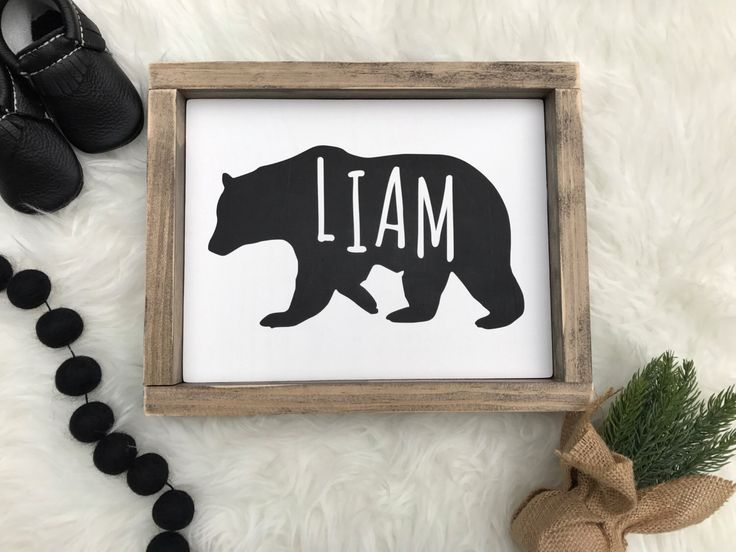 Bear custom name sign, woodland nursery, baby boy woodland nursery by OurRusticNest on Etsy https://www.etsy.com/listing/500317079/bear-custom-name-sign-woodland-nursery