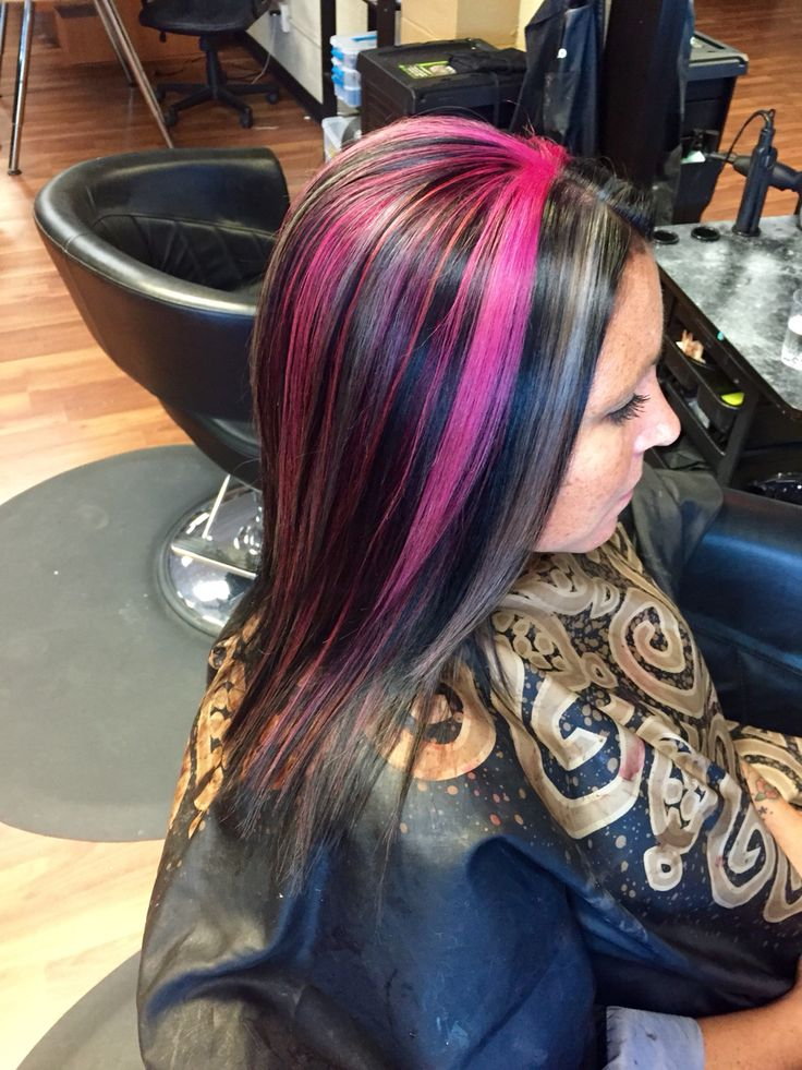 299 best hair by heather images on pinterest shadows blondes all over black with pink and silver gray highlights black hair silver hair pmusecretfo Image collections