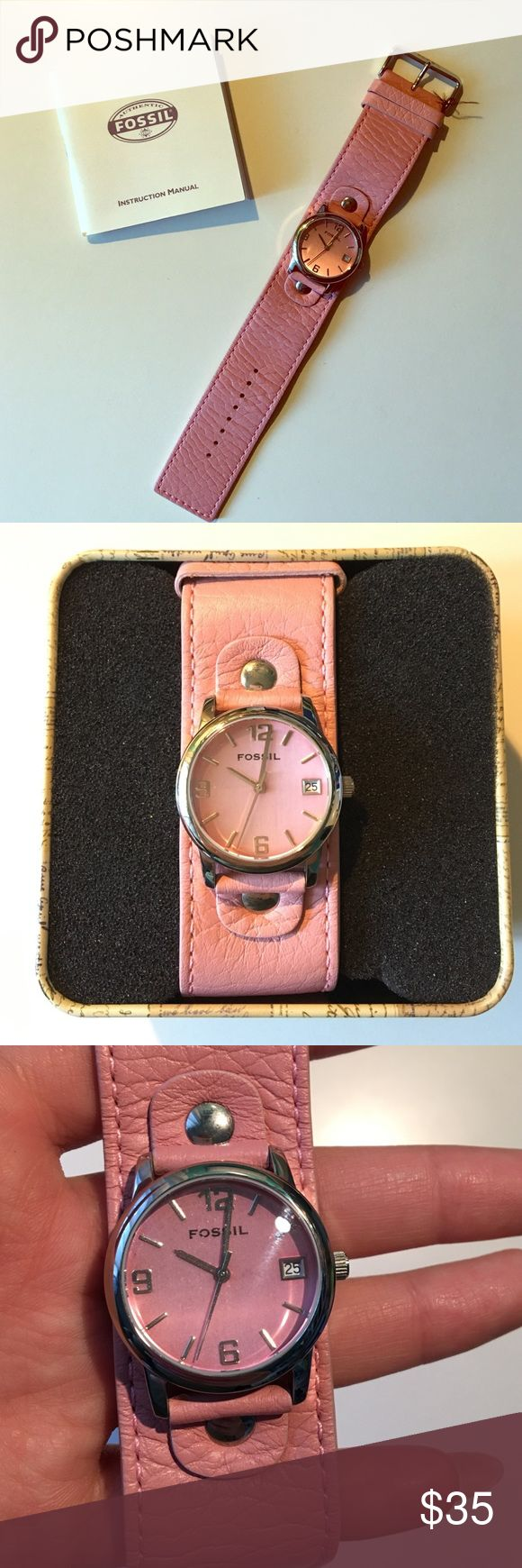 Fossil watch Women's pink leather Fossil watch all it needs are batteries. It's in great condition! Fossil Accessories Watches