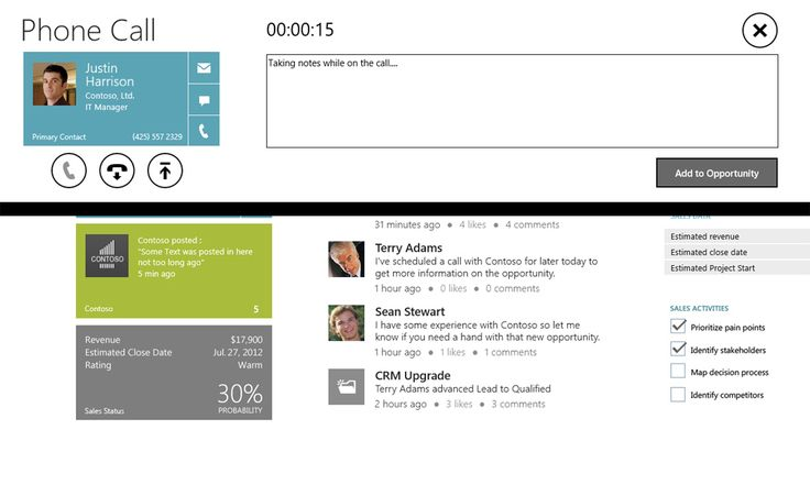 Launching a Skype call from an opportunity in the Microsoft Dynamics CRM Windows 8 app