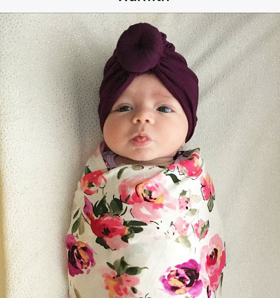 Pink baby turban with bun
