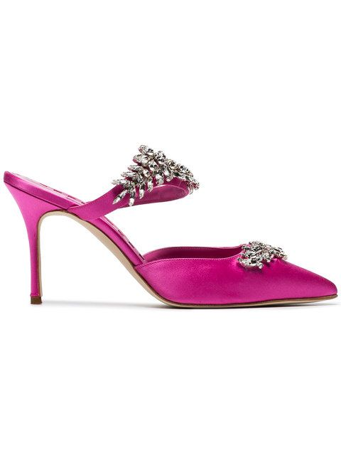80263ba70d1bc $1,295 Manolo Blahnik Pink Satin Lurum Crystal 90 Mules - Buy Online - Fast  Delivery, Price, Photo