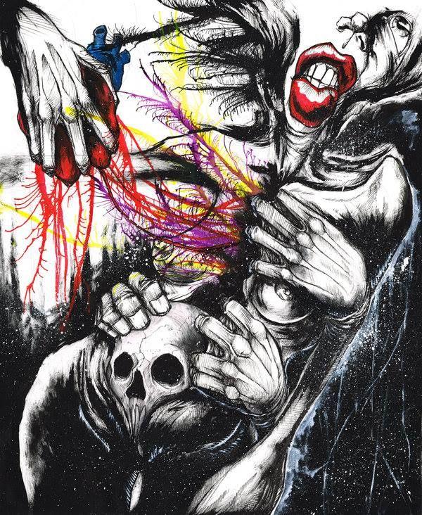 Regret & Regression. Ink/Pain/Acrylics