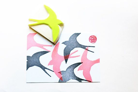 large swallow silhouette hand carved rubber stamp / style no2. swallow fly freely in the sky! SIZE: about 8cmX6.5cm (3inX2.55n)  ABOUT RUBBER STAMPS: • made to order • 10mm thick soft rubber block • block color may vary • backings or handles - optional with extra cost • materials for additional handle/backing www.etsy.com/listing/116487845/ • each rubber stamp is carved by hand using carving knives  IDEAS: • christmas, birthdays, weddings, baby shower, easters, father...
