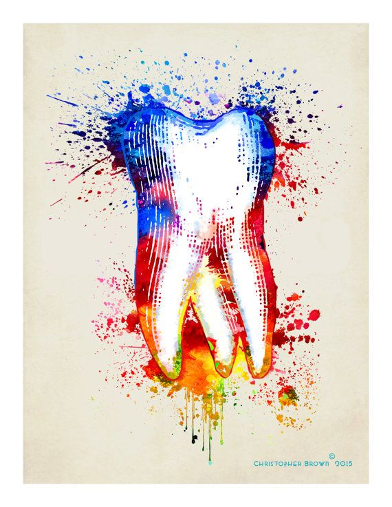 Fine Art Print  Watercolor Tooth  8.5x11 Dental by ArtOfThePage