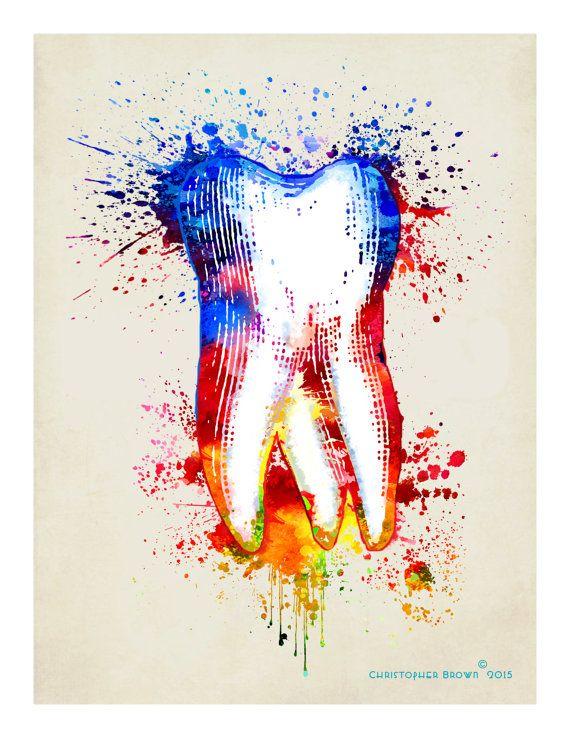 Arte impresión Acuarela diente8.5x 11 Dental por ArtOfThePage