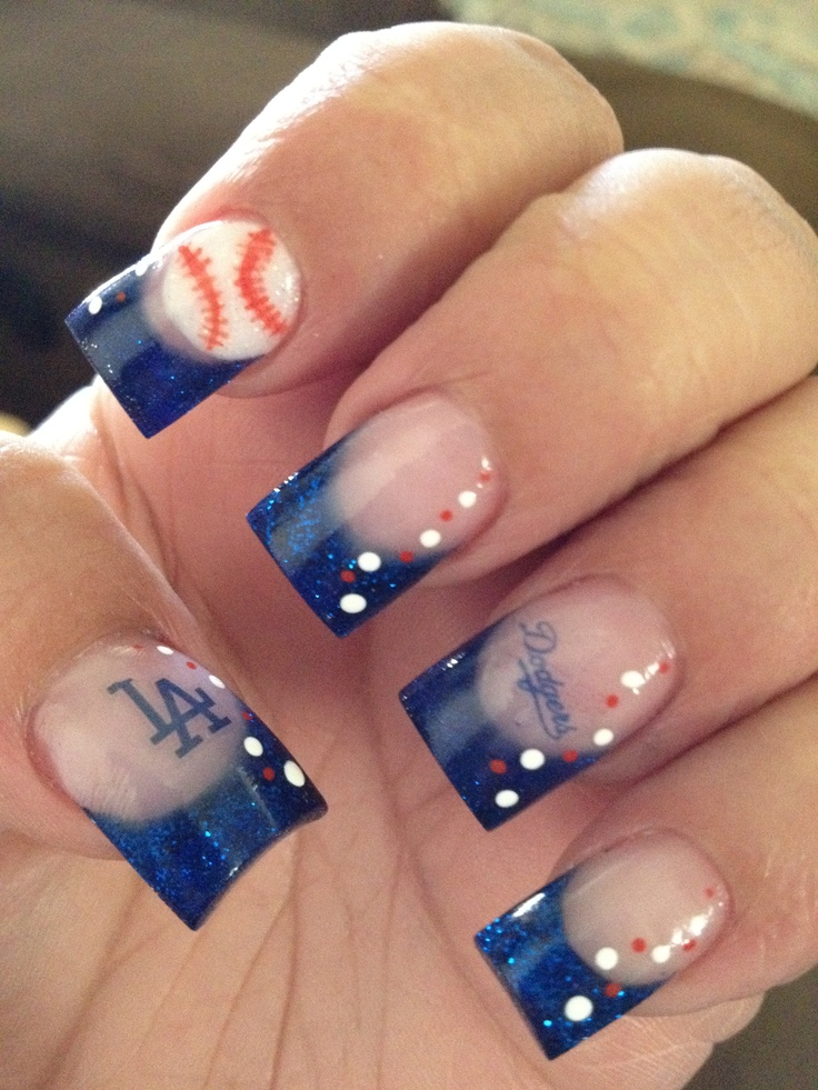 Baseball nails - Go Dodgers! My nail tech is awesome!