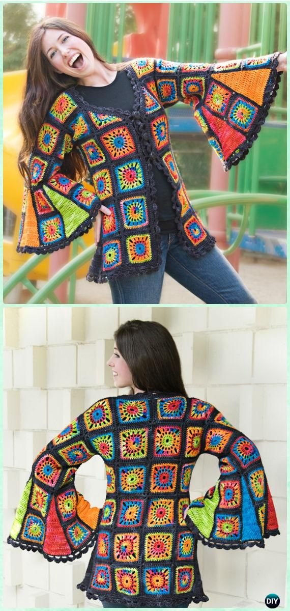 Crochet Flare Sleeve Granny Square Coat Cardigan Pattern Kit - #Crochet; Granny Square Jacket Coat Free Patterns