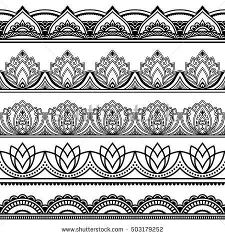 Vector henna seamless borders set. Mehndi style. Set of ornamental patterns in the oriental style.