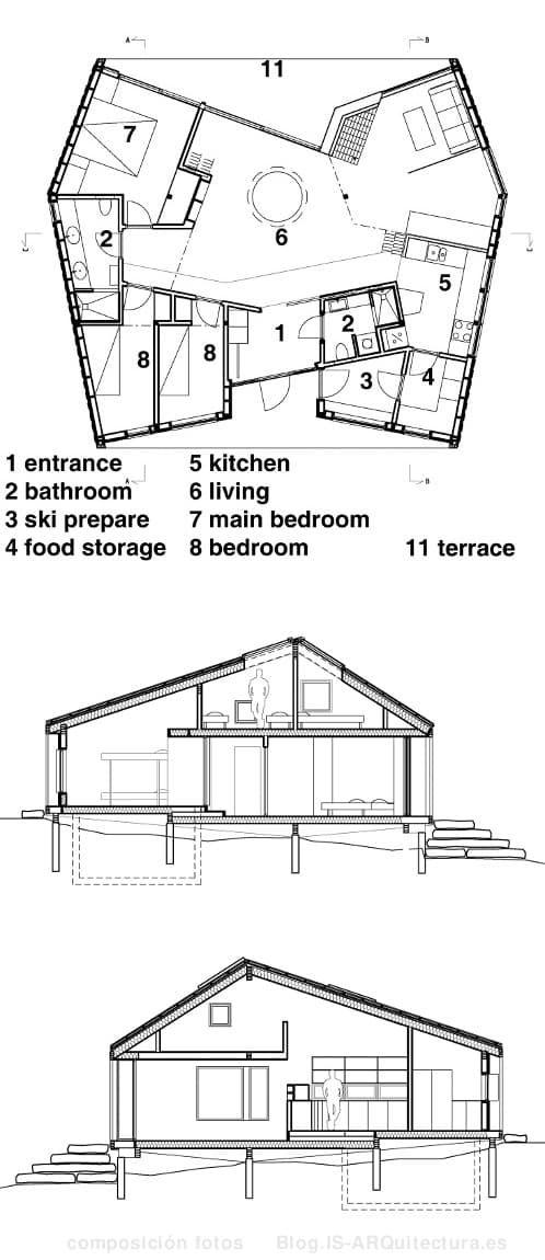 Fotos y planos de una moderna cabaña de madera, de gran tamaño y en dos niveles. Se ha resulto con un gran espesor de material aislante. Con ventanas en el techo.
