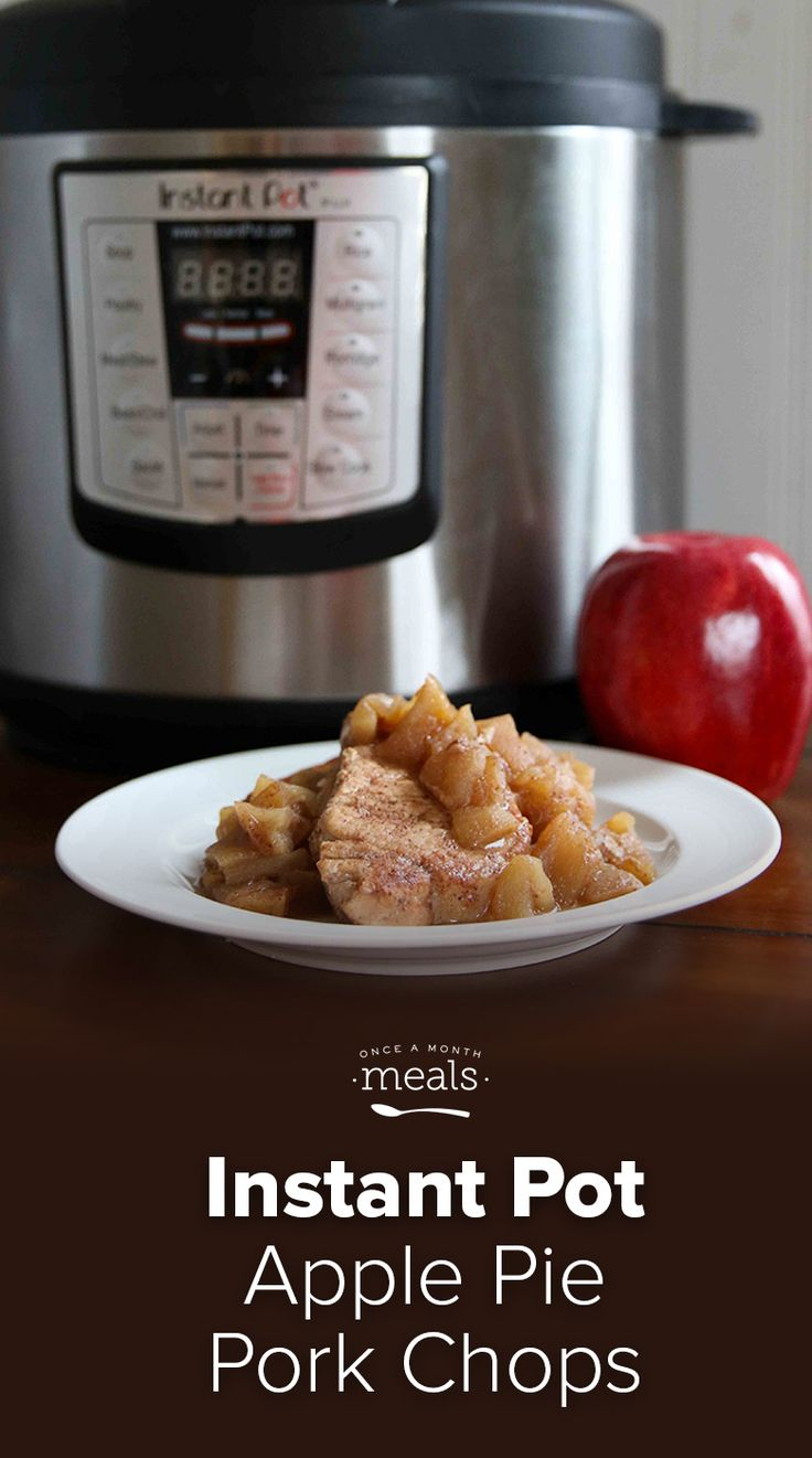 Apples, pork and cinnamon combine in this freezer meal that you can put into your pressure cooker frozen resulting in an aromatic and fast dinner. via @onceamonthmeals