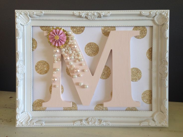 Decorated Wooden letter for girls bedroom. M decoration letter art craft