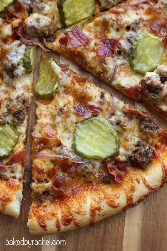 Thin Crust Bacon Cheeseburger Pizza @FoodBlogs