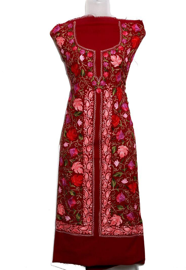 buy Red suit ,Apparel, Cotton Aari Work, online kashmiri Red suit ,,