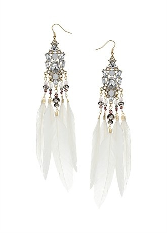 Feather And Sparkle Statement Chandelier Earrings   Gold effect and crystal glass sparkle statement chandelier earrings with cream feather drops. total length 15.3cm