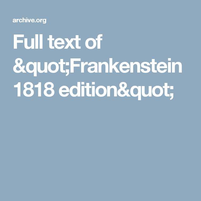 "Full text of ""Frankenstein 1818 edition"""