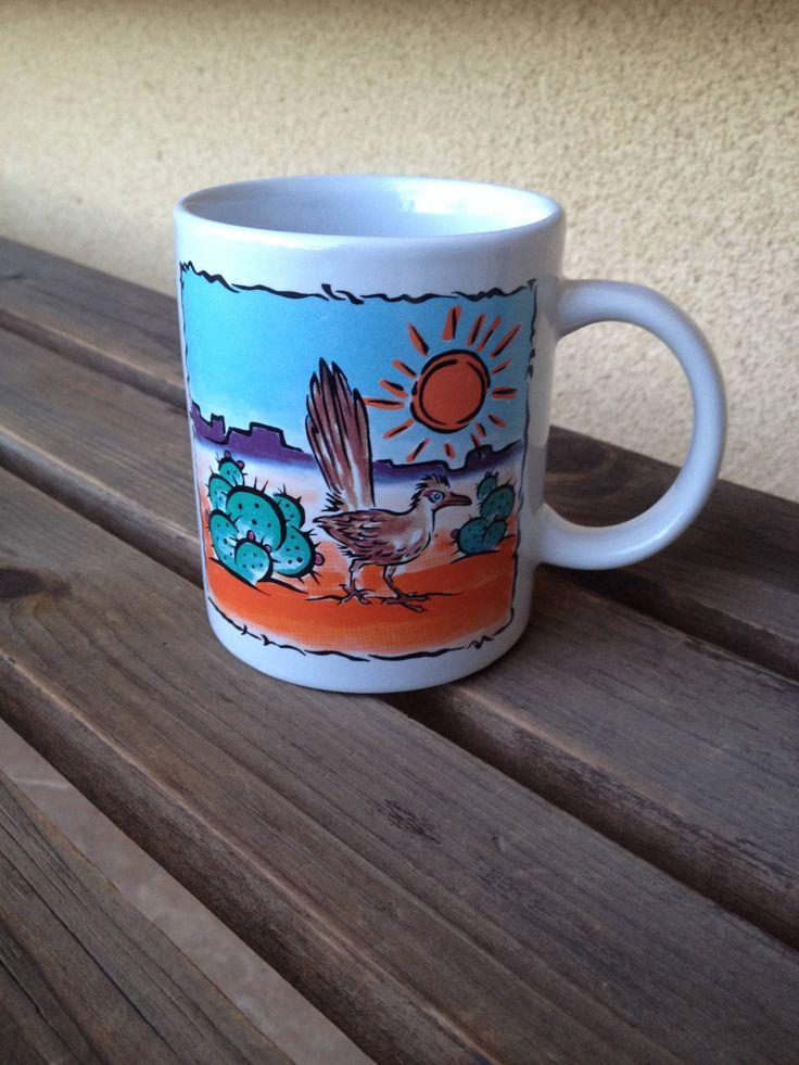 Arizona Mug, Desert Scene Mug, Desert Cup, Cactus Mug, Roadrunner Mug, Southwestern Mug, Arizona Souvenir, Desert Memorabilia, Desert Gifts by WeFindVintage on Etsy