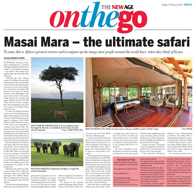 Masai Mara in The New Age newspaper #kenya #masaimara #safari