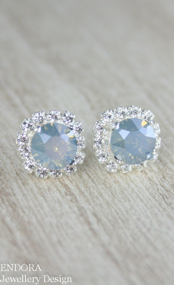 Dusty blue crystal earrings | dusty blue | powder blue wedding | www.endorajewellery.etsy.com