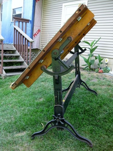 1900s Antique Hamilton Champion Drafting Drawing Table Cast Iron Base Steampunk $895.00