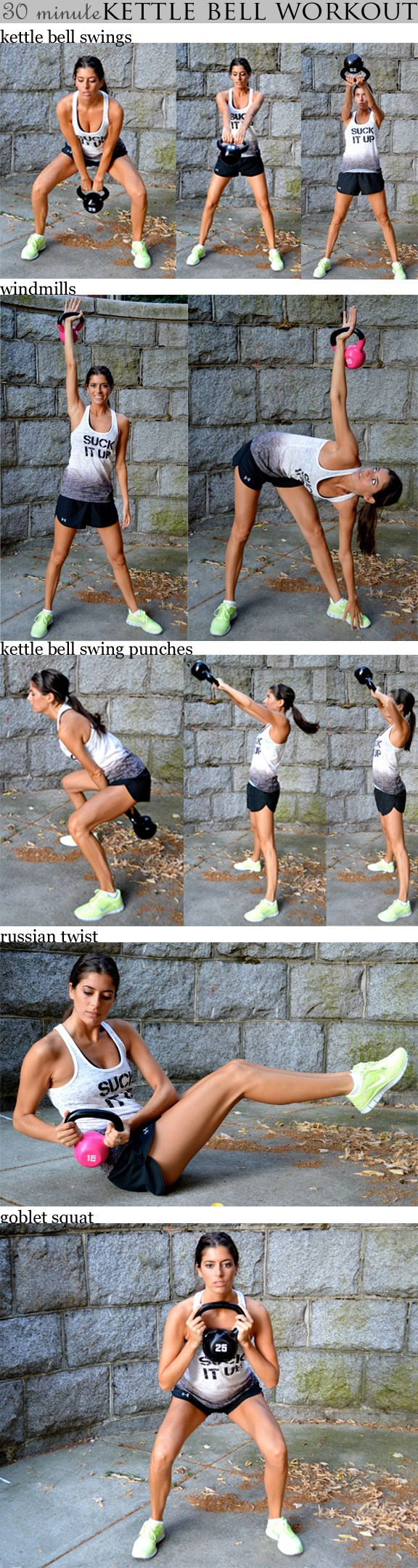 30 minute kettle bell workout  Set your interval timer for 30 rounds of 40 seconds of work and 20 seconds of rest. You'll go through the following sequence five times: (1) Kettlebell Swings (2) Windmills - left (3) Windmills - right (4) Kettlebell Swing Punches (5) Russian Twists (6) Goblet Squats
