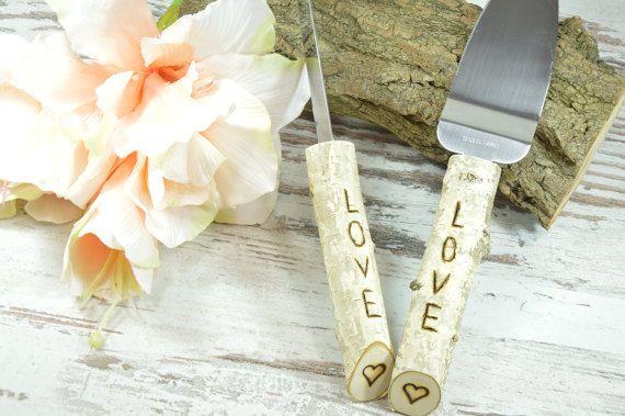 Pastel de boda servidor cuchillo abedul boda rústico pastel de