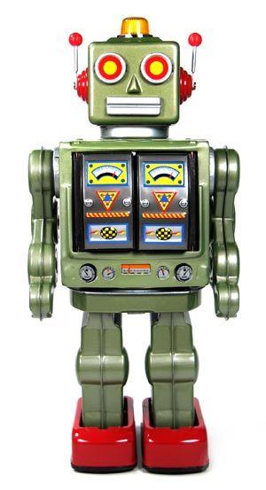 Metal House Battery Operated Metallic Green Star Strider Robot