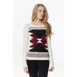 Cream sweater with burgundy & black print