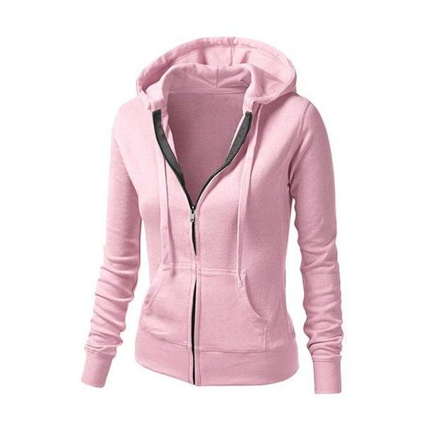 Rotita Zipper Closure Long Sleeve Hooded Pink Sweatshirt ($24) ❤ liked on Polyvore featuring tops, hoodies, pink, zip up hoodies, zipper hoodies, zip hoodies, collar top and pink zip up hoodies