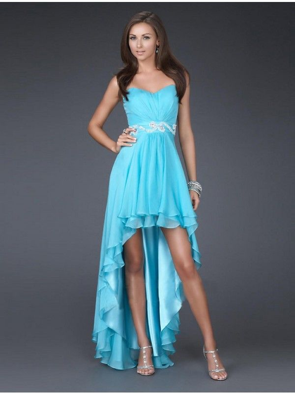 Faddish Strapless Sweetheart Ruched High-low Summer Promotion Dress (CT-007)