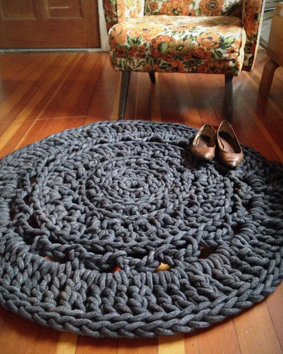 3' Giant Crochet Doily Rug Charcoal by mdotstudio on Etsy