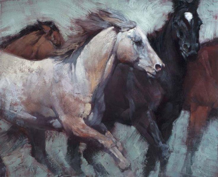 Jill Soukup :: Astoria Fine Art Gallery in Jackson Hole - Roan Rise - 48 x 60 #equine #art #horses